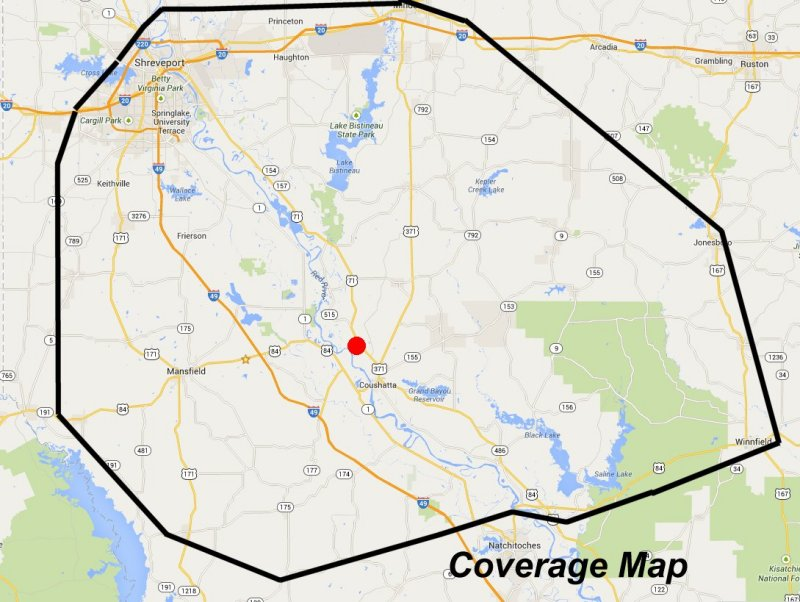 Coverage Map Shreveport Handyman Remodel